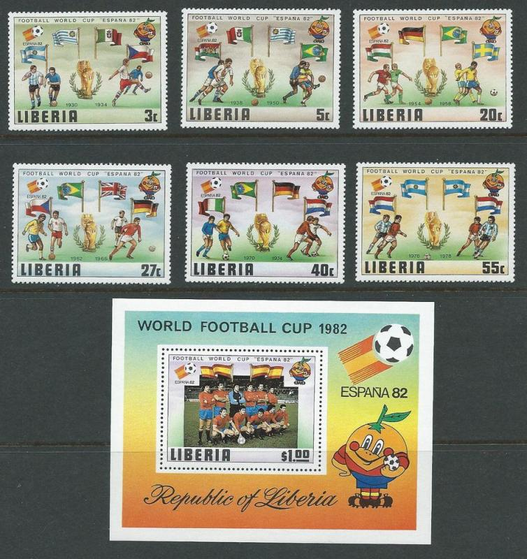 Liberia 886-92 1981 World Cup set and s.s. MNH