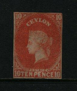 Ceylon #10 Mint Fine Unused (No Gum)