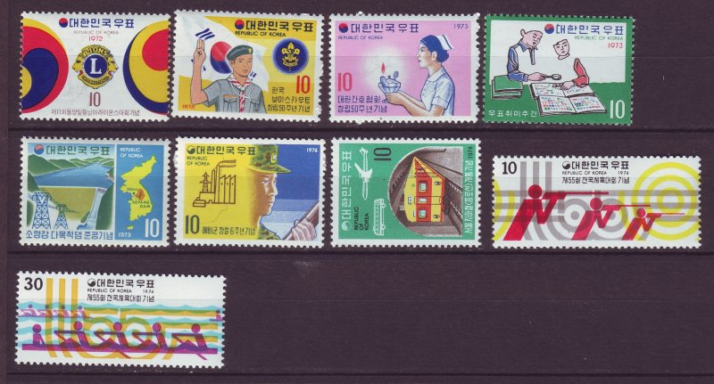 J24492 JLstamps south korea mnh #838,839,869,875,878,903,906,912-3 set mh