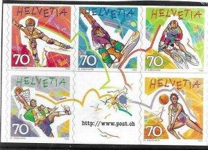 1998   SWITZERLAND  -  SG.  1396 / 1400  -  SPORTS  -  SELF ADHESIVE  -  MNH