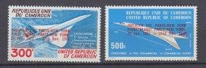 J29763, 1977 concord 1st flight cameroun set of 2 mnh #c262-3 airplane