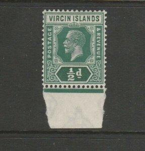 British Virgin Islands 1921 GV Script CA 1/2d MM Marginal SG 80