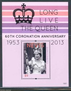 NEVIS 2013 60th CORONATION  OF QUEEN  ELIZABETH II  SOUVENIR SHEET  MINT NH