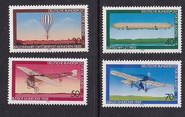 Germany    #B549-B552   MNH  1978  airplanes  Balloon Airship  monoplane