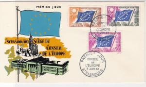 France 1963 Council of Europe Strasbourg Pic Flags Stamps FDC Cover Ref 31639