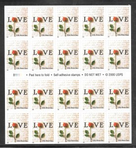 #3496 MNH Complete Booklet Pane