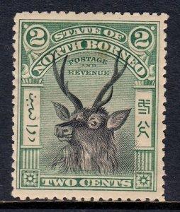 NORTH BORNEO — SCOTT 81 (SG 95) — 1900 2c GREEN & BLACK SAMBAR — MH — SCV $60