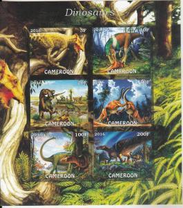 Cameroon  2016  Dinosaurs  6v   MNH  Imperf  Souvenir Sheet  A    75871