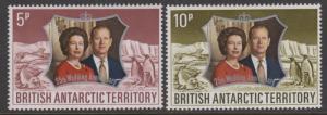 British Antarctic Territory 1972 Silver Wedding Set Sc#43-44 MLH