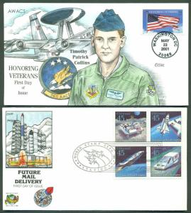 #3508 & #C125a (2) DIFFERENT HAND PAINTED COLLINS FDC CACHET BR735