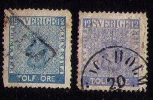 SWEDEN Scott #8-9 Used Blue & Ultra Shades 12 ore F-VF 1858/1861