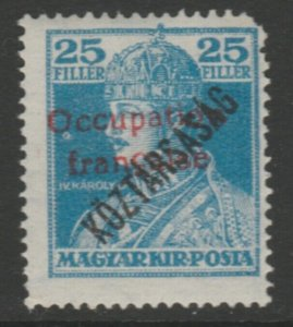 Hungary French Occupation Arad Issue 1919 25f MH* A18P16F633