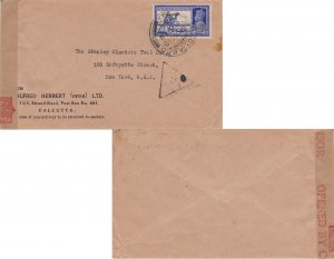 India 3a6p KGVI Dak Camel 1940 Calcutta G.P.O. to New York, N.Y. India Censor...