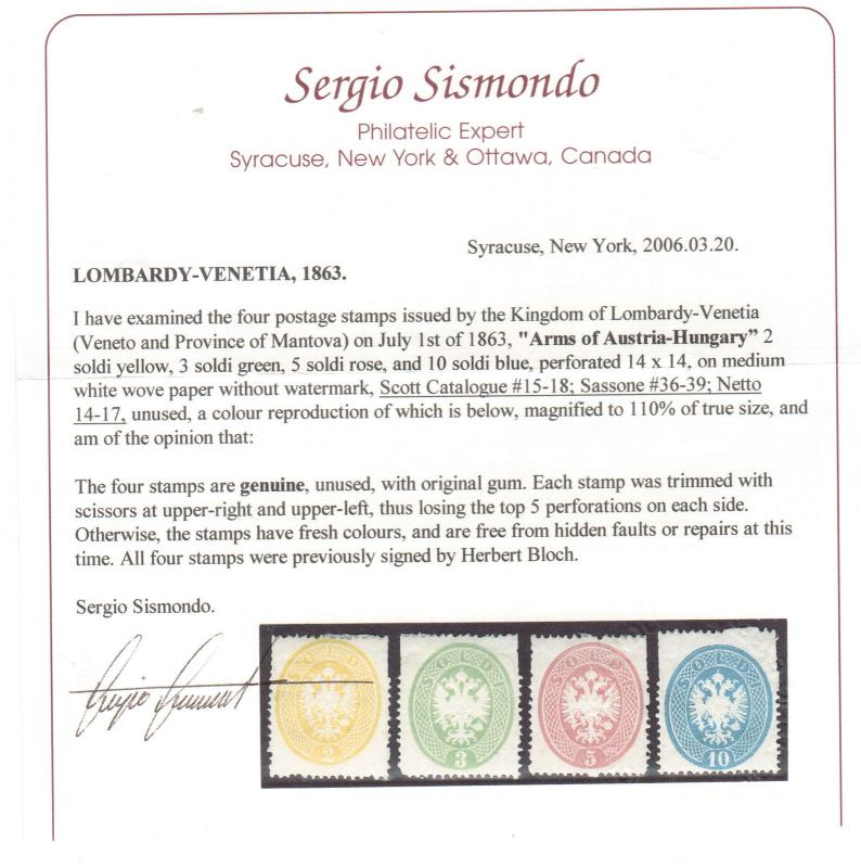 Lombardy Venetia #15 - #18 (Sassone #36 - #39) Mint Set **With Certificate**