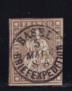 Switzerland Scott # 24 VF used neat cancel nice color cv $ 115 ! see pic !