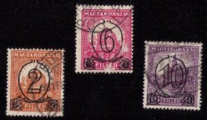 Hungary 1931 Sc 450-452 USED 3 EACH SURCHARGED F-VF