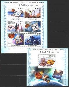 Mozambique. 2010. Small sheet 4179-84, bl 389. Venus, space. MNH.