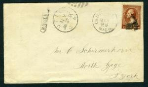 #210 cover with FANCY CANCEL - 1884 Nice Missent cover - forward markings