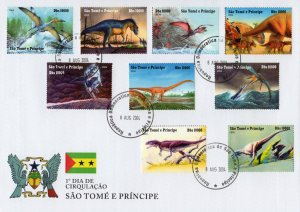 St.Thomas & Prince 2004 Dinosaurs Set (9) Perforated Official FDC