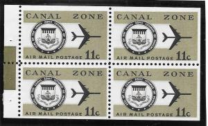 Canal Zone Scott #C49a  Mint NH 11c Airmail Booklet Pane of 4  2016 CV $3.50