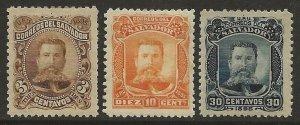 El Salvador 1895 General EZETA Set UNISSUED Seebeck's stamps Fine HR