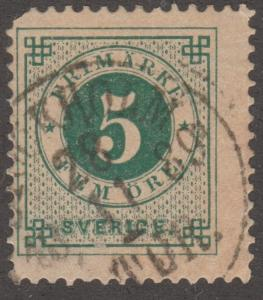 Sweden Stamp, Scott#19, used, '5', Perf 13.5,  small stamp, #M535