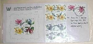 THAILAND COVER WITH SHEETLET FLOWER TO GERMANY