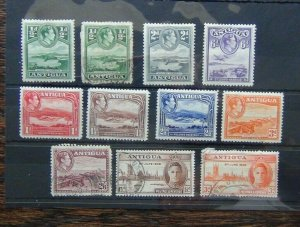 Antigua KGVI range 1938 values to 2/6 HMM or Used 1946 Victory odd defect