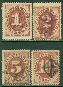 EDW1949SELL : USA 1884 Scott #J15-16, J18-19 F-VF, Used. Minor faults. Cat $98.