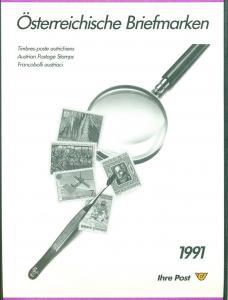 AUSTRIA 1991 OFFICIAL YEARSET, 33 STAMPS PLUS 1 SOUVENIR SHEET