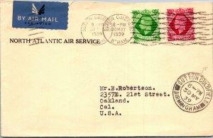 Sutton Coldfield UK > Oakland CA Atlantic Air Mail Service 1939