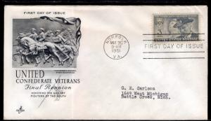 US 998 Confederate Veterans Artcraft Typed FDC
