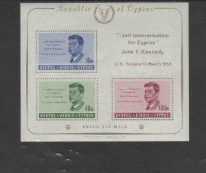 CYPRUS #253a  1965  JFK     MINT VF NH  O.G S/S  a