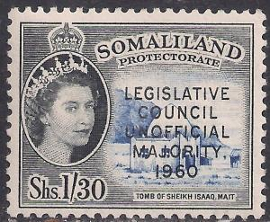 Somaliland 1960 QE2 1/-30 ct Blue & Black MM SG 152 ( R1037 )