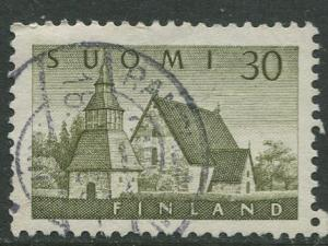 Finland - Scott 336 - Church of Lammi -1956- Used - Single 30m Stamp