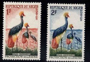 Niger Scott 91-92 MH* Crested Crane Bird stamps