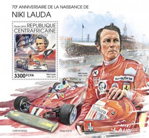 C A R - 2019 - Niki Lauda, 70th Birth Anniv - Perf Souv Sheet  - M N H