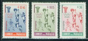 Paraguay Scott C262-4 MH* Olympic Airmail stamps 1960