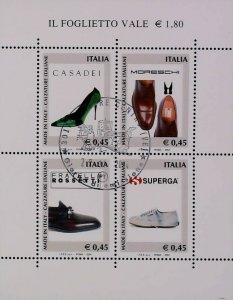 2004 Calzature Foglietto Usato Annullo FDC Italian Footwear Used Sheet 14812