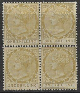 TOBAGO SG12 1880 1/= YELLOW-OCHRE MTD MINT BLOCK OF 4 STAINED ON REVERSE