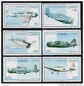 Congo 1996 Military Aircraft Transport Plane WW2 Sc1127-1132