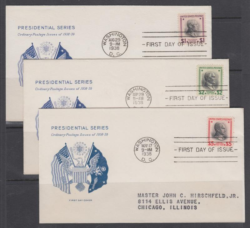 US Sc 832-834 FDC. 1938 Prexie $1 $2 $5 matched Grimsland cachets, VF