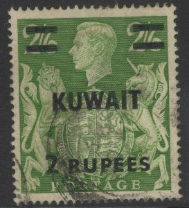 KUWAIT SG72 1948 2r on 2/6 YELLOW-GREEN USED
