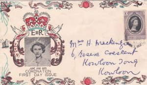 Hong Kong # 184, Queen Elizabeth Coronation Colorful Cachet First DAy Cover