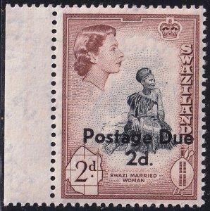 Swaziland Stamp 1961 Queen Elizabeth II 2p. Postage Due OVPT MNH/OG STAMP