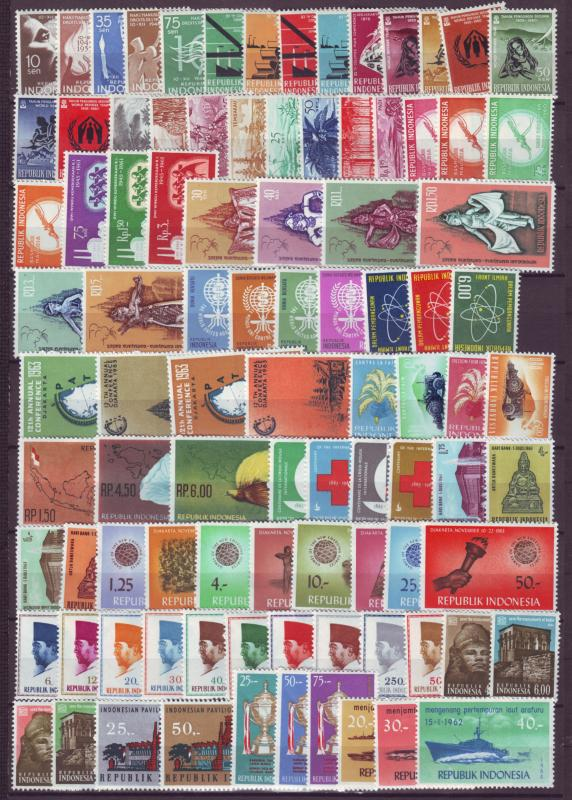 J21033 Jlstamps 1958-64 indonesia complete set mh #468-up noted 1 thinned stamp