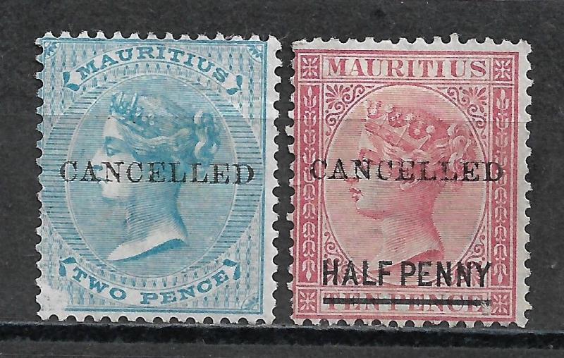 MAURITIUS 1863-76 Cancelled Overprints.