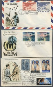 PHILIPPINES: Three 1960 FIRST DAY Covers; Air Force, Refugee Year, Eisenhower