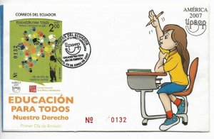 ECUADOR YEAR 2007 EDUCATION AMERICA UPAEP CHILDREN RIGHTS FIRST DAY COVER FDC