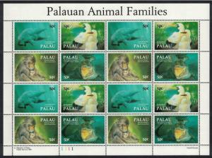 Palau Booby Bird Dugong Crocodile Macaque Animals Sheetlet of 4 sets SG#589-592